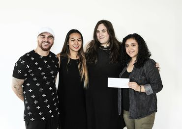 Photo: (Left to Right) Ricki Beckzadeh – Dean of The Academy of Recording Arts, Annalie Bonda – Executive Director, Charlie Wall-Andrews, SOCAN Foundation, and Lili Rathgeb – Fundraising and Grant Specialist of The Remix Project. ​