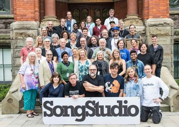 Group pic - Front row - Marghie Evans Do Write Music, Bill McKetrick Songstudio Operations Director, Blair Packham Songstudio Program Director, Ron Sexsmith, Dayna Manning, Allister Bradley Songstudio Technical Director