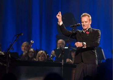 Sting performing at the Cohen tribute concert at the Bell Centre on Monday night. Photo: Claude Dufresne/Evenko