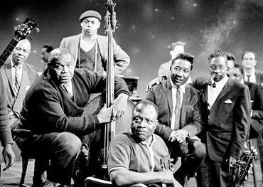 The 1966 summit. L-R Big Joe Williams, Bukka White, Willie Dixon, Muddy Waters, Sunnyland Slim, James Madison, Mabel Hillary, James Cotton.