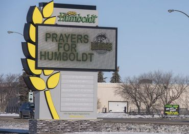 The welcome sign is shown in Humboldt, SK, Saturday April 7. Pic, Liam Richards, The Canadian Press