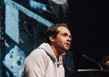 Grand Prize winner Kevan Funk at the podium last night. Photo: Alyson Hardwick