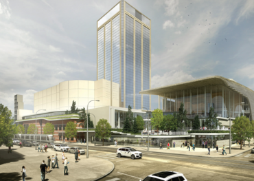 Southeast view of the Winspear Centre expansion showing the Music Box area