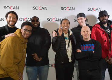SOCAN's LA Grammy party attendees -  Left to right: Tyler Henry, Jenius, WondaGurl, London Cyr, and SOCAN's Rodney Murphy.