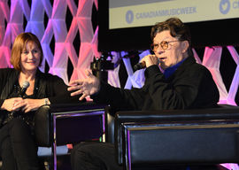 Denise Donlon and Robbie Robertson chat by