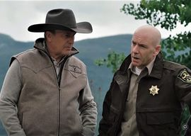 Kevin Costner & Hugh Dillon on  the set of Yellowstone. Pic courtesy of Paramount Network.