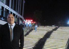 Richard standing in Soho Square, Beijing