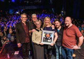 Spirit of the West joined on stage by John Mann's wife, Jill Daum, and @MusicProjectCA auction winner Renee van Kessel for a Platinum Single Award presentation. Photo courtesy of Alzheimer Society of Toronto