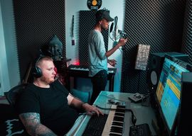 Corey Lerue in studio with Neon Dreams singer Frank Kadillac