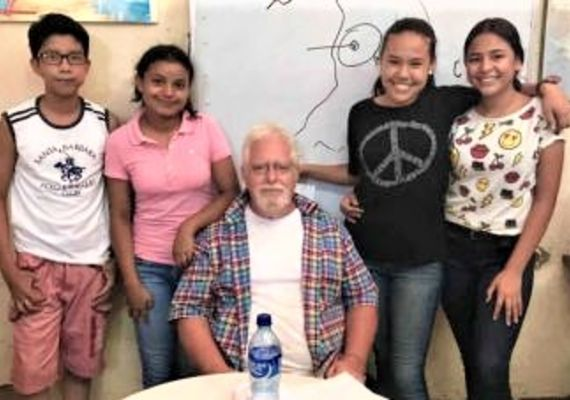 Kevin Doyle with students from ABC School — photo provided