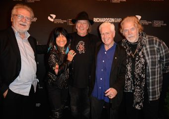 CSHF inductees Stephane Venne, Neil Young and Bruce Cockburn, pictured with Buffy Sainte-Marie and Randy Bachman. Tom Sandler Photography