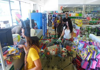 Karen Bliss goes shopping at a dollar store in San Miguel for the orphanage,