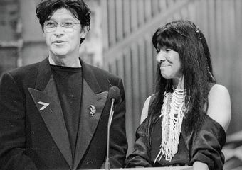 Canadian Music Hall of Fame inductees Robbie Robertson and Buffy Sainte-Marie at The 1992 Juno Awards. Photo Credit: Barry Roden
