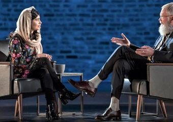 Nobel Prize winner Malala Yousafzai on David Letterman's My Next Guest Needs No Introduction. Photo: Netflix
