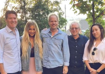 Pictured (L-R): Ron Kitchener (RGK Entertainment) Madeline Merlo, Mark Friedman (president Deluge Music) David Robkin (Managing Member Deluge Music) Emily Dryburgh (Creative Manager Deluge Music)