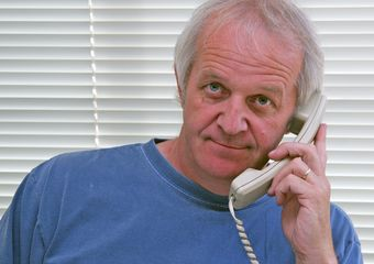 Terry Wickham working the phone
