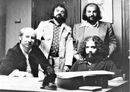 Bernies Fiedler, Solomon, Finkelstein at the contract signing of (seated) Dan Hill.