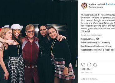 The Beaches with fan Elton John in Toronto  Instagram photo