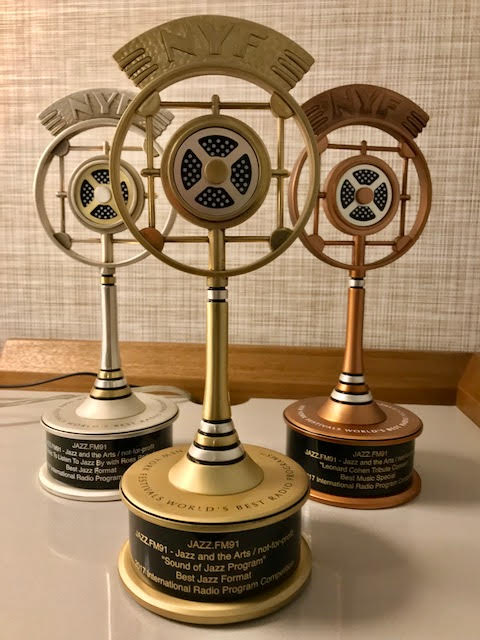 The winning trophies