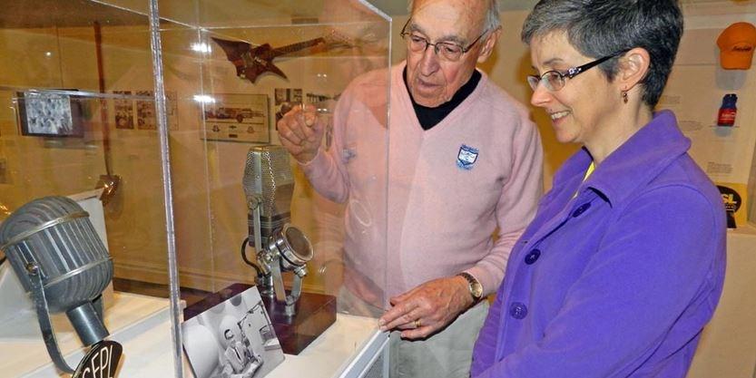 Veteran radio, TV personality Bill Brady with Museum London curator Amber Lloydlangston. Pic: Sean Meyer