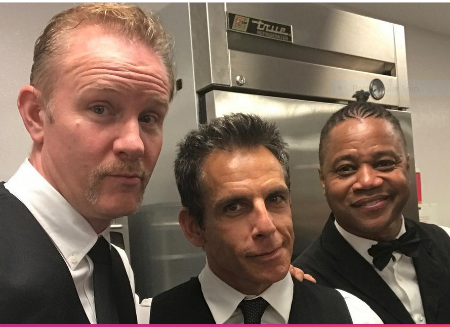 Wait staff in the kitchen (l-r): Morgan Spurlock, Ben Stiller, Cuba Gooding Jr.